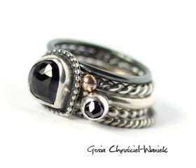 Spinel, Black Diamond & Gold