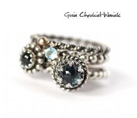 Blue Topaz, Gold & Silver