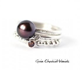 Brązowy diament, perła & cyrkonia