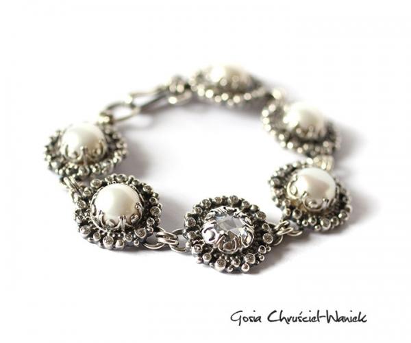 Bransoleta ze srebra, pereł i cyrkonii
