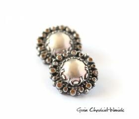 Klipsy – Peach Pearls