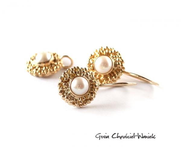 Komplet ze złota z perłami