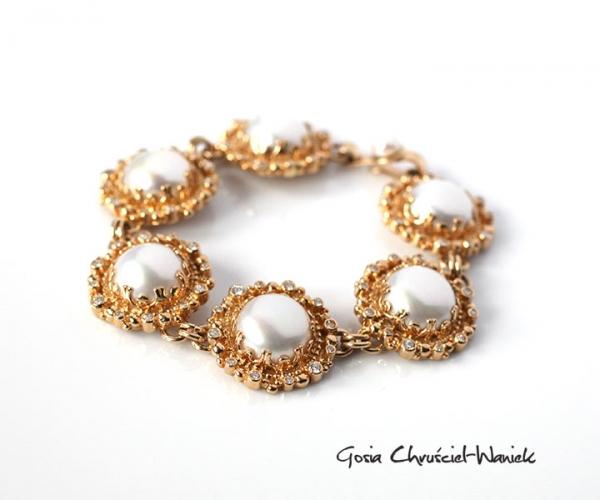 Bransoleta ze złota z brylantami i perłami