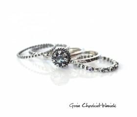 Zestaw pierścionków z aleksandrytem