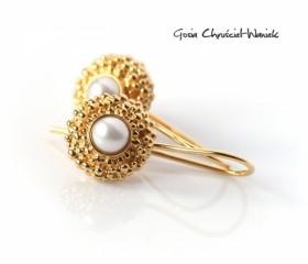 """Złocone kolczyki """"Pearls"""""""