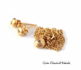 """Komplet """"Pebbles"""" w złocie"""