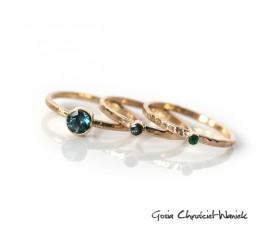 Topaz London Blue, szafir & szmaragd w złocie