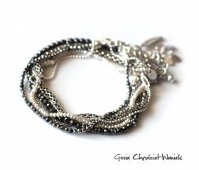 "Bransoleta ""Silver, Pearls & Hematite"""