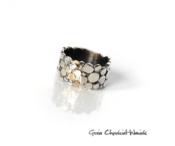 Srebrno-złoty pierścionek z kolekcji Paths