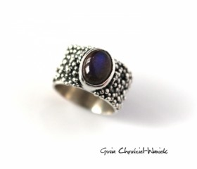 Srebrny pierścieńretro z labradorytem