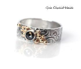 Srebrno złoty pierścień retro z diamentem