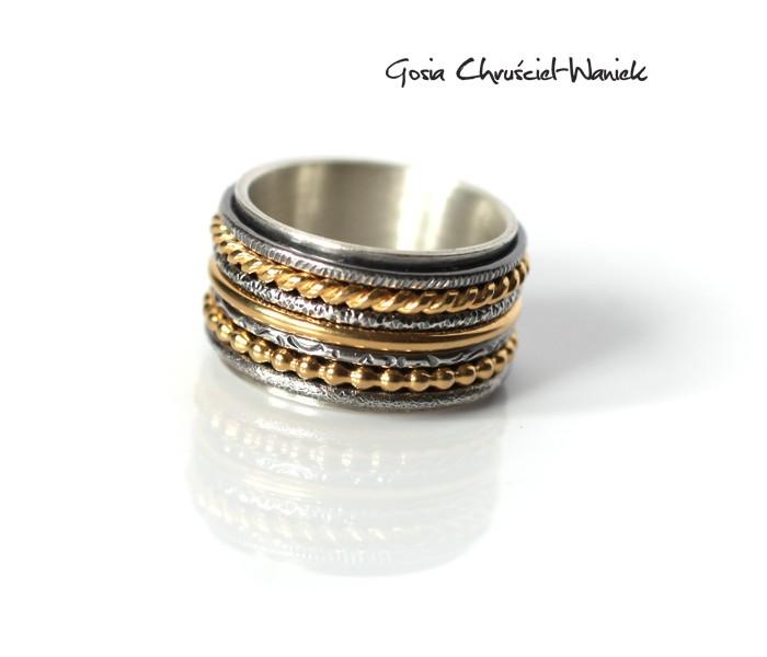 Wysoka obrączka, biżuteria autorska