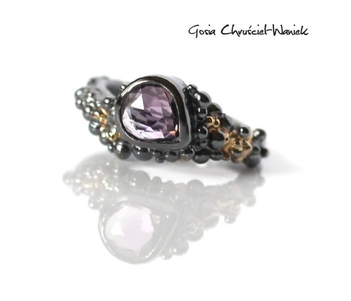 Autorska biżuteria, pierścionek z ametystem