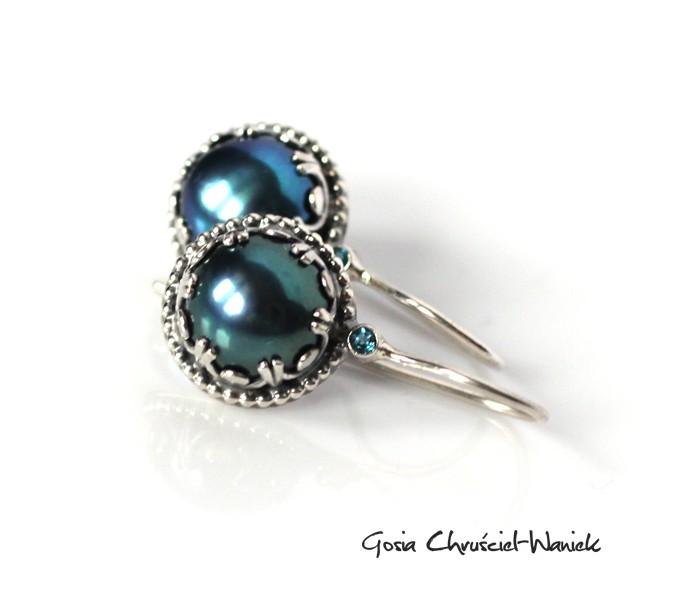 Srebrne kolczyki z perłami i topazami London Blue