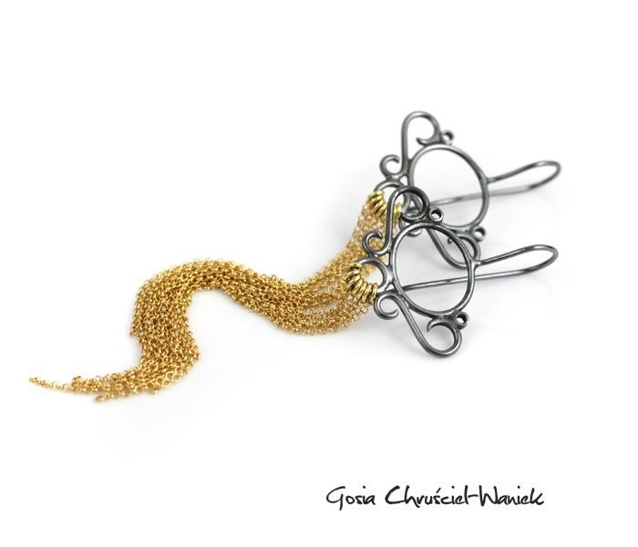 Długie złoto srebrne kolczyki