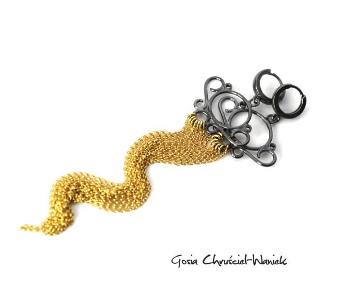 Długie kolczyki złoto srebrne