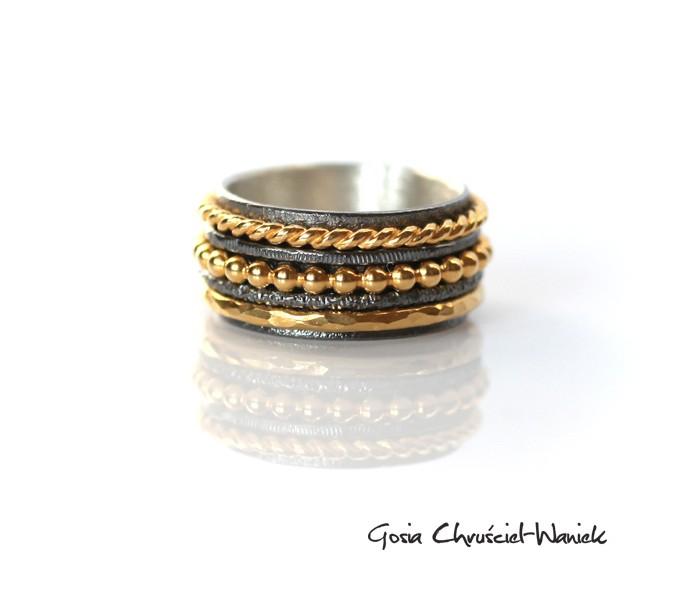 Złoto czarna obrączka ze srebra