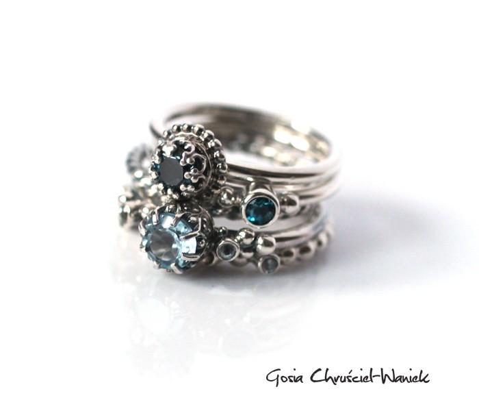 Srebrne pierścionki z topazem London Blue i Sky Blue