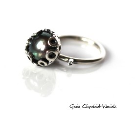 Pierścionek z perłą i aleksandrytem