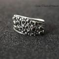 Autorski srebrny pierścionek z czarnymi cyrkoniami