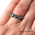 Organiczny srebrno - złoty pierścionek