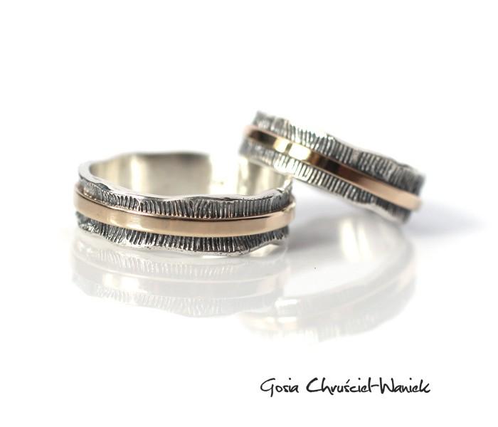 Autorskie srebrno-złote obrączki