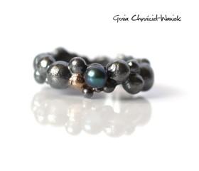 Bubble Ring z turkusową perłą i złotem