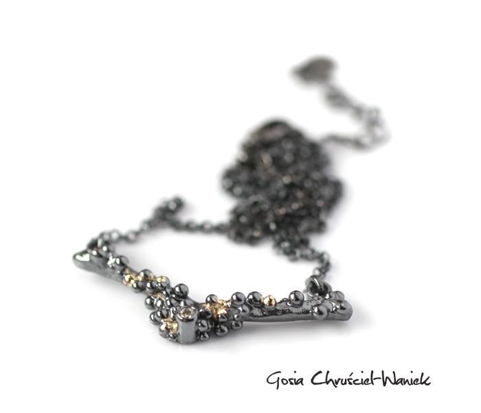 Organiczny srebrno złoty naszyjnik