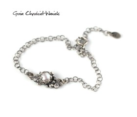 Retro bransoletka z perłą i cyrkoniami