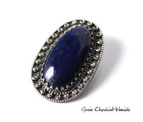 Lapis Lazuli z markazytami w srebrze