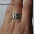 Srebrno-złoty organiczny pierścionek