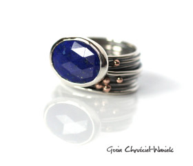 Lapis Lazuli, srebro i złote kuleczki