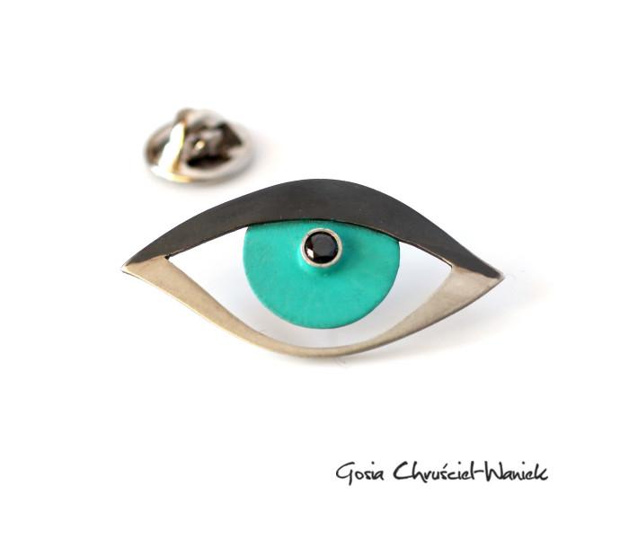 Srebrny pin / broszka oko