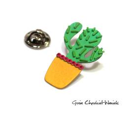 Zielony kaktus – srebrny pin