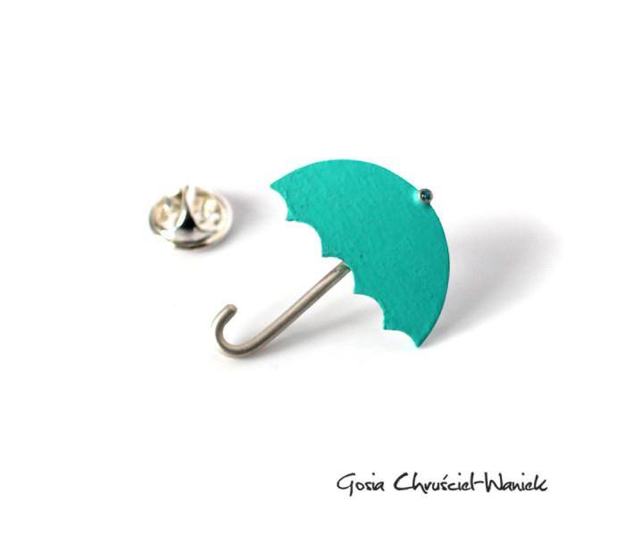 Srebrna broszka, pin parasol