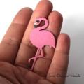 Różowy flaming - broszka