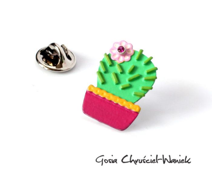 Ręcznie robiony srebrny kaktus - broszka, pin