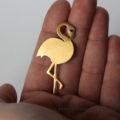 Broszka, przypinka, pin z flamingiem. Złocone srebro.