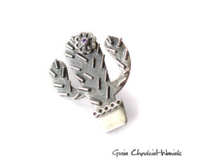 Srebrny kaktus z cyrkonią