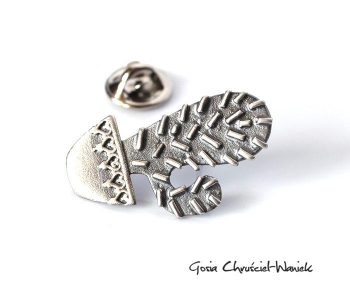 Srebrny kaktus - pin, przypinka, broszka