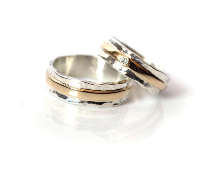 Srebrno złote, ręcznie robione, obrączki z brylantem