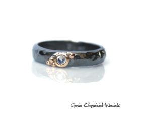 Srebrno złoty pierścionek z kamieniem księżycowym