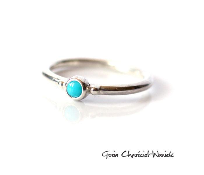 Srebrny pierścionek z turkusem Sleeping Beauty
