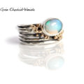 Srebrno-złoty pierścionek z opalem