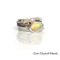 Srebrno złoty pierścionek z opalem