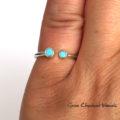 Otwarty pierścionek z dwoma cyrkoniami