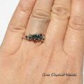 Okazały pierścionek z moissanitem, topazami, diamentami i złotem