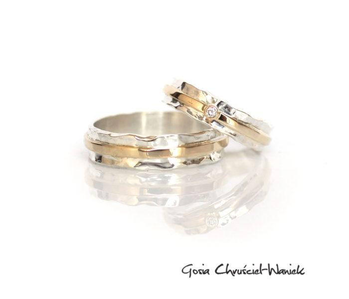 Ręcznie wykonane srebro złote obrączki