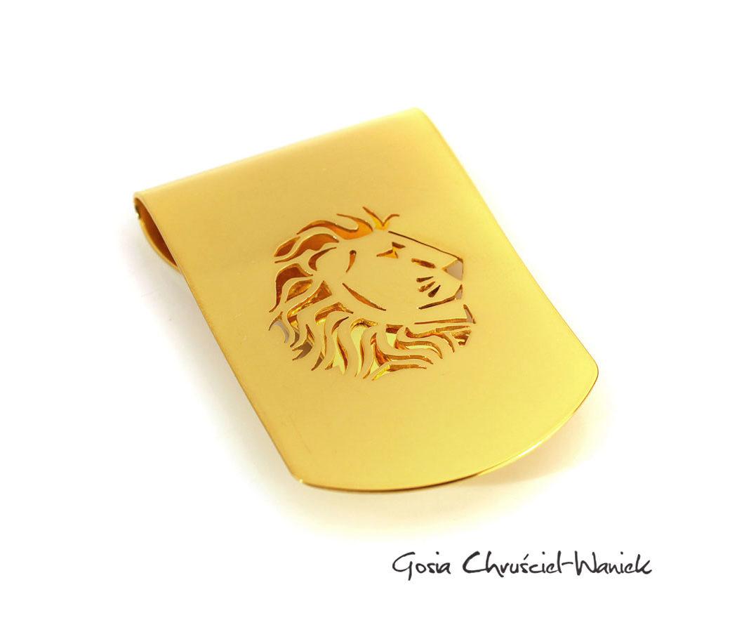 Złocony klips z lwem na banknoty