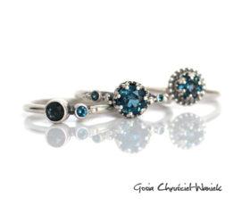 Zestaw pierścionków z topazami London Blue